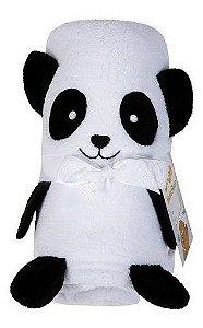Manta Panda Fleece Bebê Com Bordado Lepper 78 Cm X 120 Cm