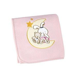 manta bebê fleece bordada rosa coelha lepper