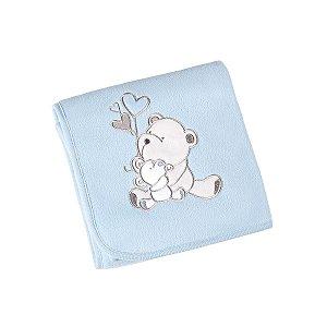 manta bebê fleece bordada azul urso lepper