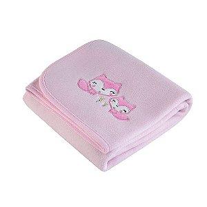 manta bebê fleece bordada mini raposinhas rosa lepper
