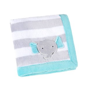 manta fleece estampada com bordado 76 cm x 102 cm lepper elefante