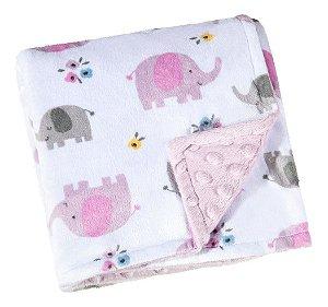 Manta Fleece Dupla Face Bebê 82 Cm X 82 Cm Lepper Rosa Elefante