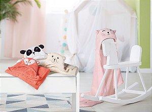 Manta Fleece Bebê Com Capuz Bordado 76 Cm X 102 Cm Lepper - Raposa