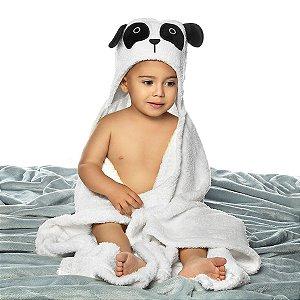 Manta Fleece Bebê Com Capuz Bordado 76 Cm X 102 Cm Lepper - Panda