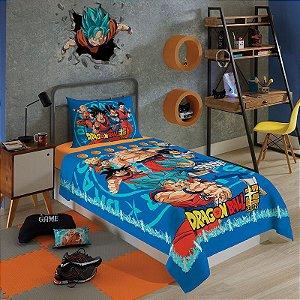 jogo de cama dragon ball 2 peças infantil lepper