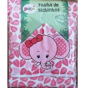 Toalha De Bebê Bichinhos Com Capuz Forrada De Fralda - Elefante