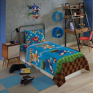 Sonic  Jogo De Cama Microfibra 3 Peças Lepper Infantil Solteiro