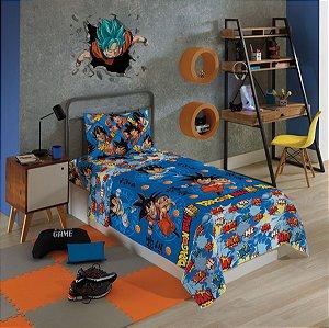 Dragon Ball  Jogo De Cama Microfibra 3 Peças Lepper Infantil Solteiro