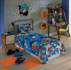 Jogo De Cama Dragon Ball Microfibra 2 Peças Lepper Infantil Solteiro