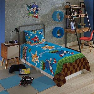 Jogo De Cama Sonic Microfibra 2 Peças Lepper Infantil Solteiro
