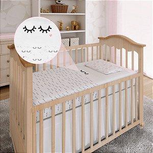 Lençol De Berço 3 Peças Tamanho Americano Enxoval Bebê Papi Cílios