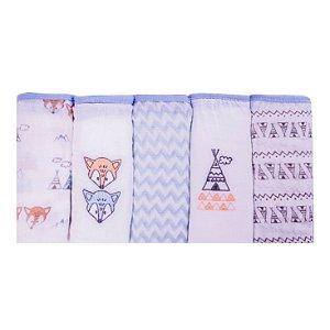 Fralda Soft Premium Papi Baby 80 X 80 Cm Com 5 Unidades Raposa