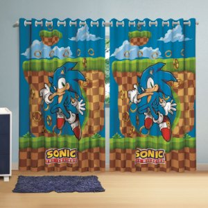Cortina com ilhós Sonic 3,00 x 2,10 lepper infantil personagem