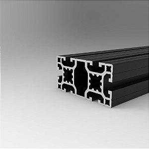 Perfil Estrutural em Alumínio 40x80 Preto Básico - Canal 8