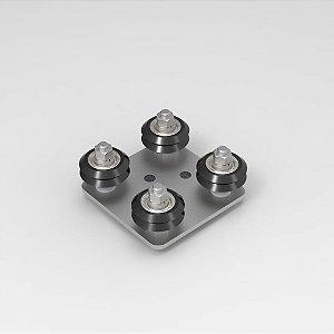 Guia Ajustável com Roldanas Para Perfil 20x20 V-Slot - 4 apoios
