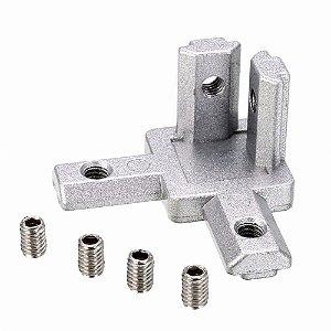 Conexão de Topo 90° de 3 Vias em Alumínio para V-Slot