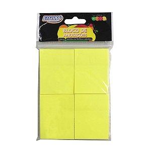 Bloco Smart Notes Amarelo Neon 4 Blocos 100F 38X51Mm Brw