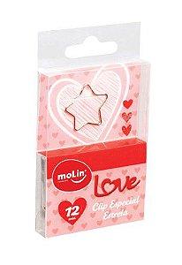 Clipes Especial Love Estrela 12 Unidades Molin