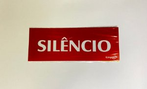 Placa de Sinalização Poliestireno 20x7cm - Silêncio (Vermelha) - Emplac
