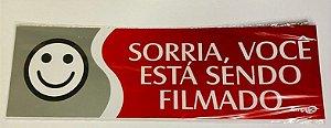 Placa de Sinalização Poliestireno 30x9cm - Sorria Você Está Sendo Filmado (Vermelha) - Emplac