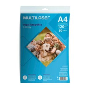 Papel Fotografico Glossy A4 120g Pct c/50 Und Multilaser