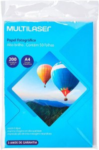 Papel Fotografico Glossy A4 200g Pct c/50 Und Multilaser
