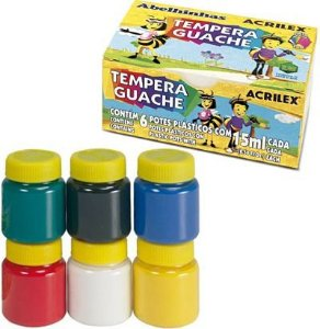 Tinta Tempera Guache C/6 15Ml Acrilex