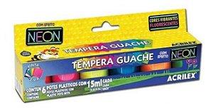 TINTA TEMPERA GUACHE NEON 6X15ML ACRILEX