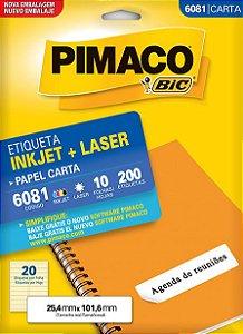 Etiqueta Carta 6081 Branca 20 Etq Pimaco