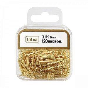 Clipes 28Mm Dourado 120Und Tilibra