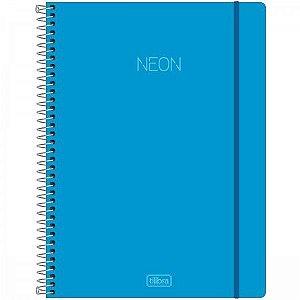 Caderno Universitario Capa Plastica 1 Materia 80F Neon Azul Tilibra