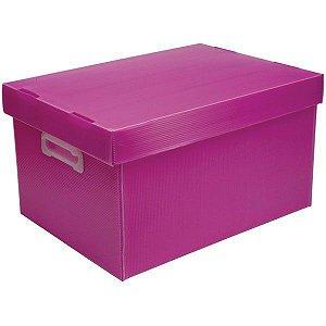 Caixa Organizadora C/ Pegador Rosa Pequena  Polibras