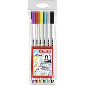 Caneta Pen Brush C/6 Cores Stabilo