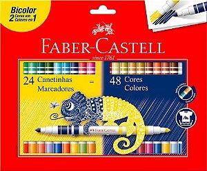 Canetinha Hidrográfica Bicolor 48 Cores Faber Castell