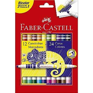 Canetinha Hidrográfica Bicolor 24 Cores Faber Castell