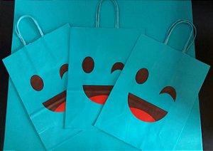 Sacola Papel Emoticons Azul Fwb
