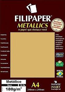 Papel Filipaper Metalico Ouro 180G A4  Filiperson