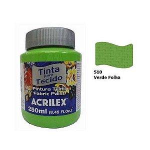 TINTA TECIDO FOSCA 250ML VERDE FOLHA (510) ACRILEX