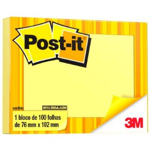 Post-It Amarelo 76Mmx102Mm 100F Nt Adesivas 3M