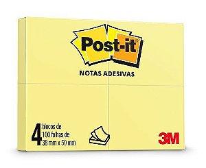 Post-It Amarelo 38X50Mm 4 Blocos 100F 3M