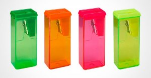 Apontador Plastico Retangular C/ Deposito Neon Brw