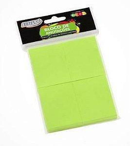 Bloco Smart Notes Verde Neon 4 Blocos 100F 38X51Mm Brw