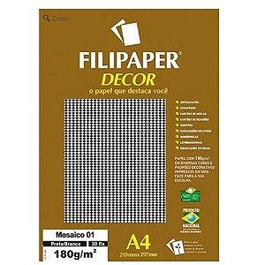 Papel Filipaper Decorado 180G A4 Mosaico 01 Preto/Branco Filiperson