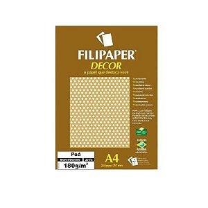 Papel Filipaper Decorado 180G A4 Poá Dourado/Branco Filiperson