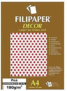 Papel Filipaper Decorado 180G A4 Poá Vermelho/Branco Filiperson
