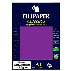 Papel Filipaper 180G A4 Filicolor Lilás  Filiperson