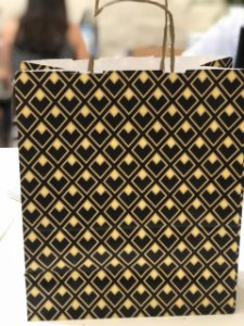 Sacola Papel Losango Preto/Ouro G 32X26,5X13 Cromus