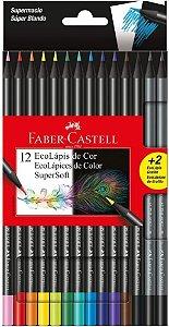 LAPIS DE COR SUPERSOFT C/12 CORES + 2 LAPIS GRAFITE FABER CASTELL