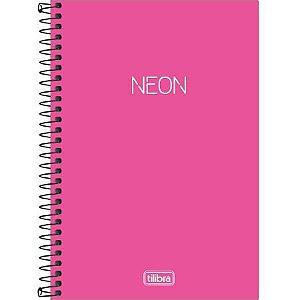 Caderno Espiral Capa Plástica 1/4 80F Neon Pink Tilibra
