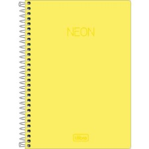 Caderno Espiral Capa Plástica 1/4 80F Neon Amarelo Tilibra